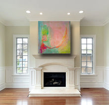 green and pink 36 x 36 square painting on canvas hung over white fireplace by cheryl wasilow