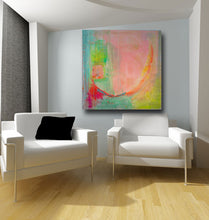 abstract painting in pastel pink and green in large size on wall with white sofas
