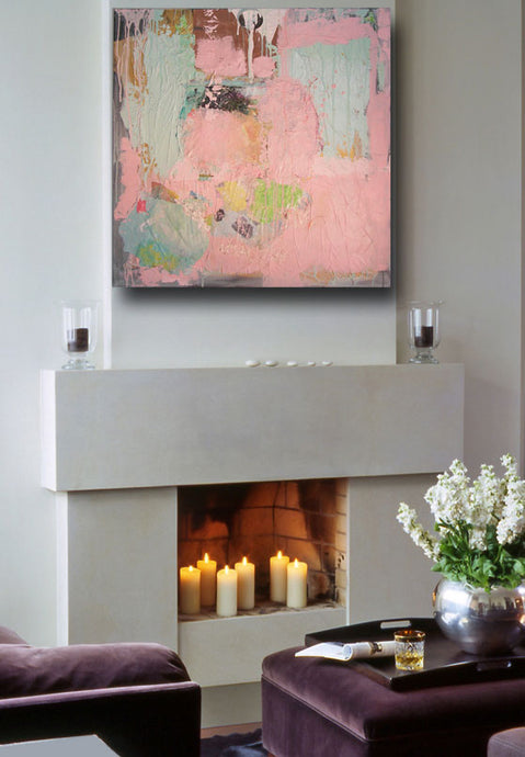 large contemporary art over fireplace in pink and green