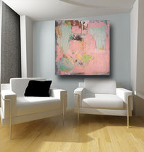 pink and blue abstract painting on wall over two chairs by artist cheryl wasilow