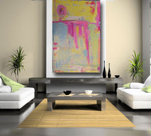 huge modern painting on wall yellow, blue and pink cherylwasilowart