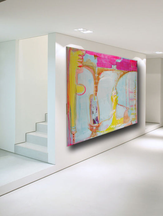 Two large abstract paintings on wall in modern white room cherylwasilowart