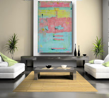60 x 40 huge abstract painting with blues and pinks