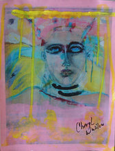 pink and yellow artwork in small size on paper by cheryl wasilow artist