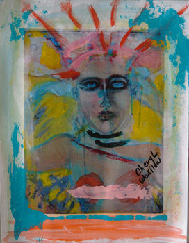 small painting of abstract face bohemian boho artwork by Cheryl Wasilow