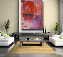 orange and purple abstract painting large size