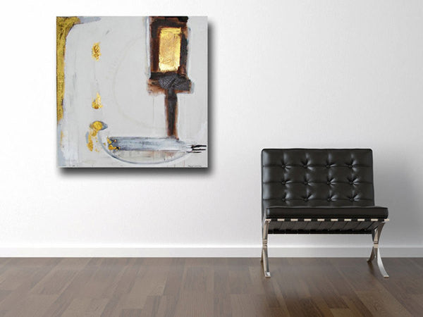 dark brown, white and metallic gold painting on wall beside black chair cherylwasilowart