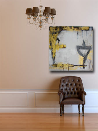 metallic gold, white and gray original painting on wall above brown chaircherylwasilowart