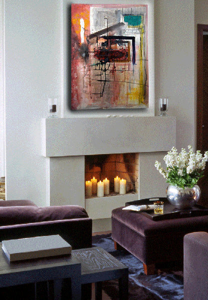 abstract painting deep red and pink on canvas over fireplace by cheryl wasilow