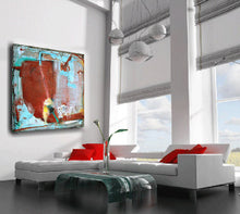 dark red and turquoise art on canvas by cheryl wasilow