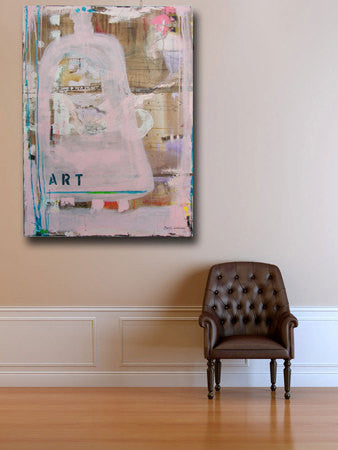 Pink abstract painting with the word art on it hanging on wall next to brown chaircherylwasilowart