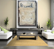 bohemian art on large canvas with texture in cream and brown