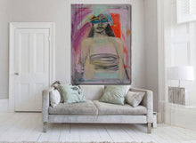 abstract woman in large size on living room wall over sofa by cheryl wasilow