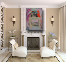 large figurative orignal painting of woman with mask in traditional room setting by cheryl wasilow