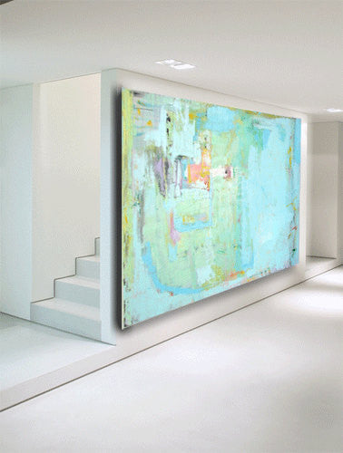 Wonderful Abstract painting in pastel colors size 60 x 40 gallery art custom  OF51