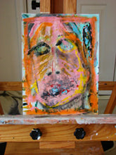 painting of woman's face on paper in pink and yellow by cheryl wasilow