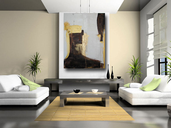 metallic gold, brown and white 36 x 48 original painting on great room wall by cheryl wasilow