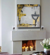 metallic gold, gray and white 30 x 30 painting over white fireplace cherylwasilowart
