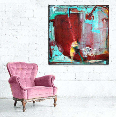 Turquoise and burgundy red abstract painting on wall beside a pink chaircherylwasilowart