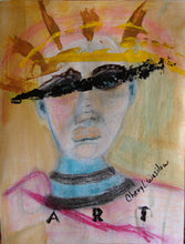 outsider art portrait of womans face with mask and the word art on the painting