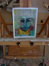 yellow, blue, red and pink original painting of woman with crown