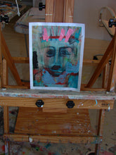 pink and blue abstract face art on small paper painting by cheryl wasilow