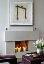 white abstract zen minimalist painting on wall over fireplace by cheryl wasilow