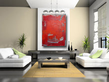 red artwork in living room by Cheryl Wasilow