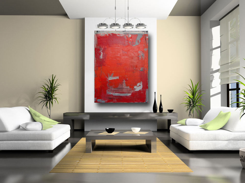 red modern abstract painting by Cheryl Wasilow