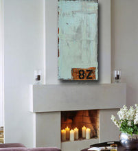 pastel blue art with numbers and letters displayed over fireplacecherylwasilowart