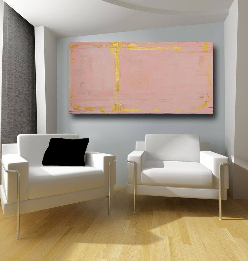 pink and metallic gold24 x 48 large contemporary art by cheryl wasilow