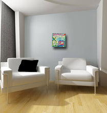 small colorful painting in modern room with two white chairs by cheryl wasilow