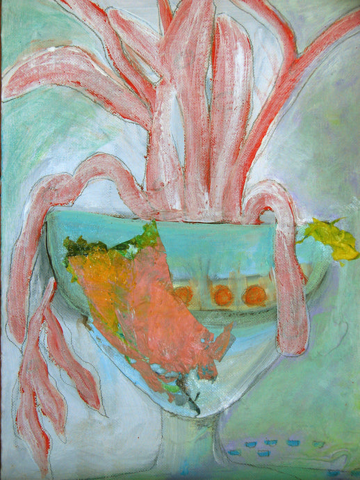 9 x 12 aqua and coral colored artwork of sea coral in vase on canvas board by cheryl wasilow