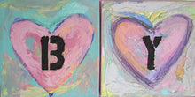 baby girl abby personalized wall name abby original heart paintings on canvas pink, green 6 x 6 canvas art - cherylwasilowart