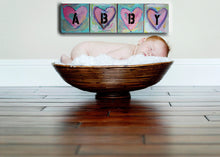 baby girl abby personalized wall art name abby original heart paintings on canvas pink, green by cheryl wasilow
