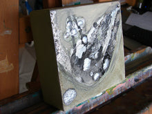 olive green, black and silver abstract painting 6 x 6 inches by cheryl wasilow