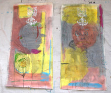 gray, pink and yellow original paintings by cheryl wasilow