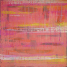 large 36 x 36 contemporary art in pink and yellow by cheryl wasilow