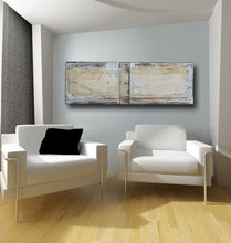 tan, cream and brown abstract artwork on wall with two white chairs and a black pillow cherylwasilowart