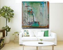 green abstract painting with orange accents in 36 x 36 size by cheryl wasilow