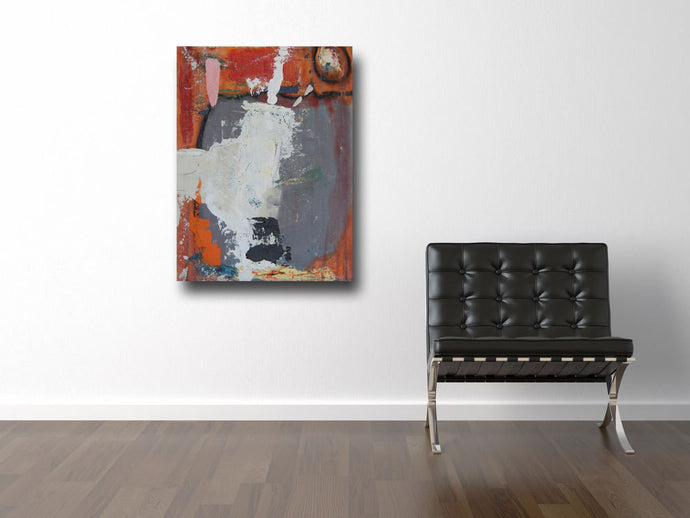 contemporary art in orange, gray and white acrylics on canvas board by cheryl wasilow