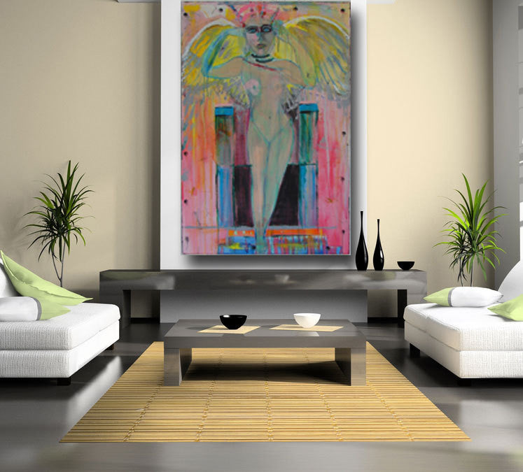60 x 40 huge painting with pink and yellow angel on wall with table and two sofas with straw rug cherylwasilowart