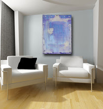 lavender blue painting on wall with two chairs and a black pillow setting on wood floor