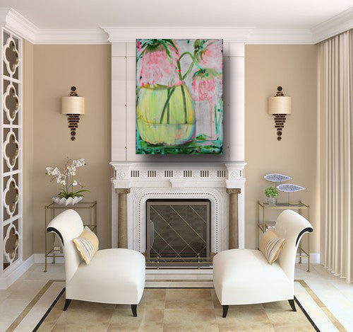 abstract painting of pink peony flower in vase on 30 x 40 gallery canvas by cheryl wasilow