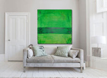 large green painting 36 x 36 original on canvas by cheryl wasilow