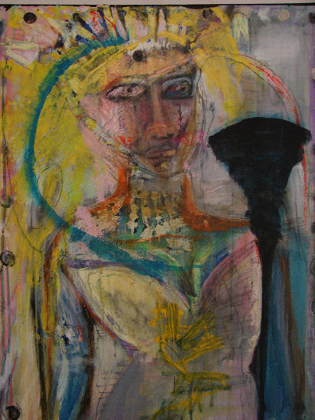 painting of abstract woman figure with crown, jewelry and torch