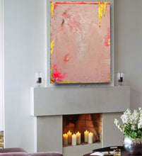 Pink, metallic gold and flourescent pink contemporary art on 30 x 40 canvas on wall over white fireplace with candles