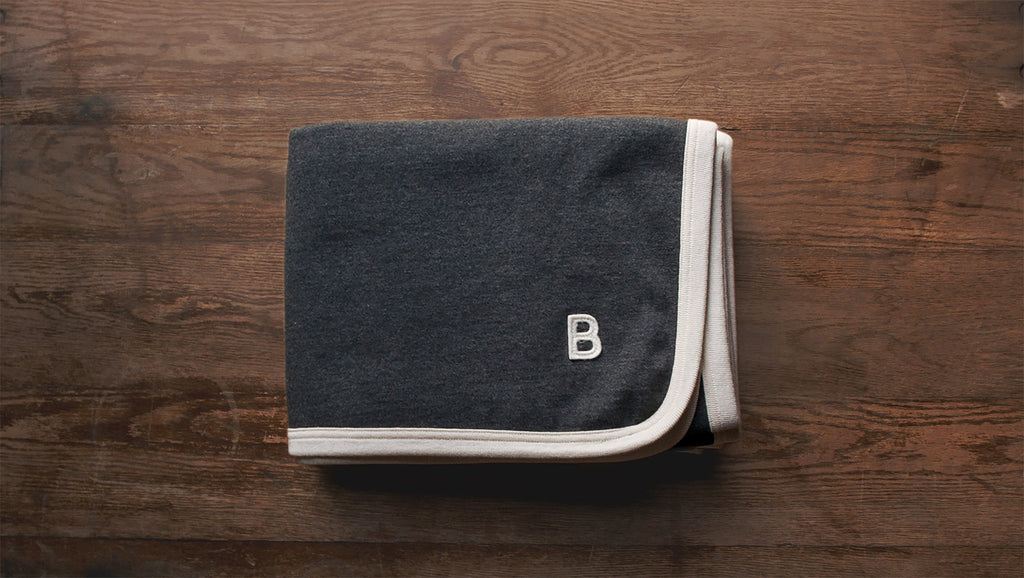 Charcoal Beresford Blanket with a B felt patch