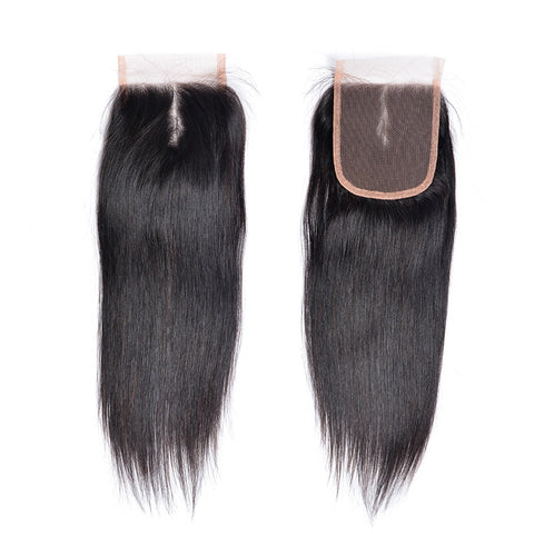 4 x 4 Indian Closure Straight Human Hair Free/Middle/Three Part Lace Closure Non Remy Humman Hair Natural Color