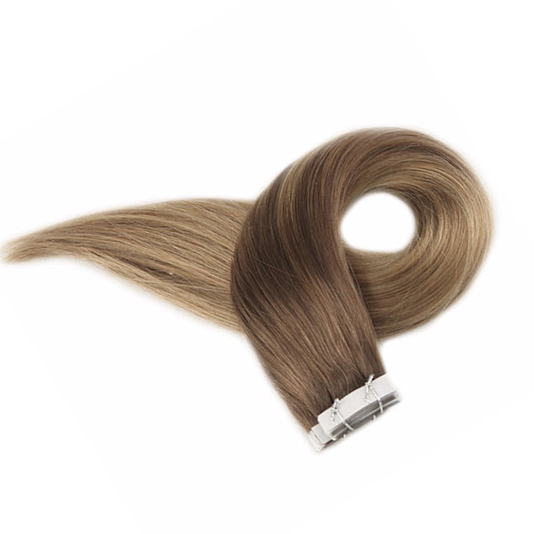 Tape in Hair Extensions Balayage Color Seamless  10 12